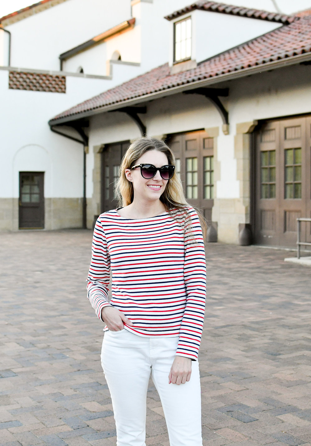 Red and navy striped tee fall outfit — Cotton Cashmere Cat Hair