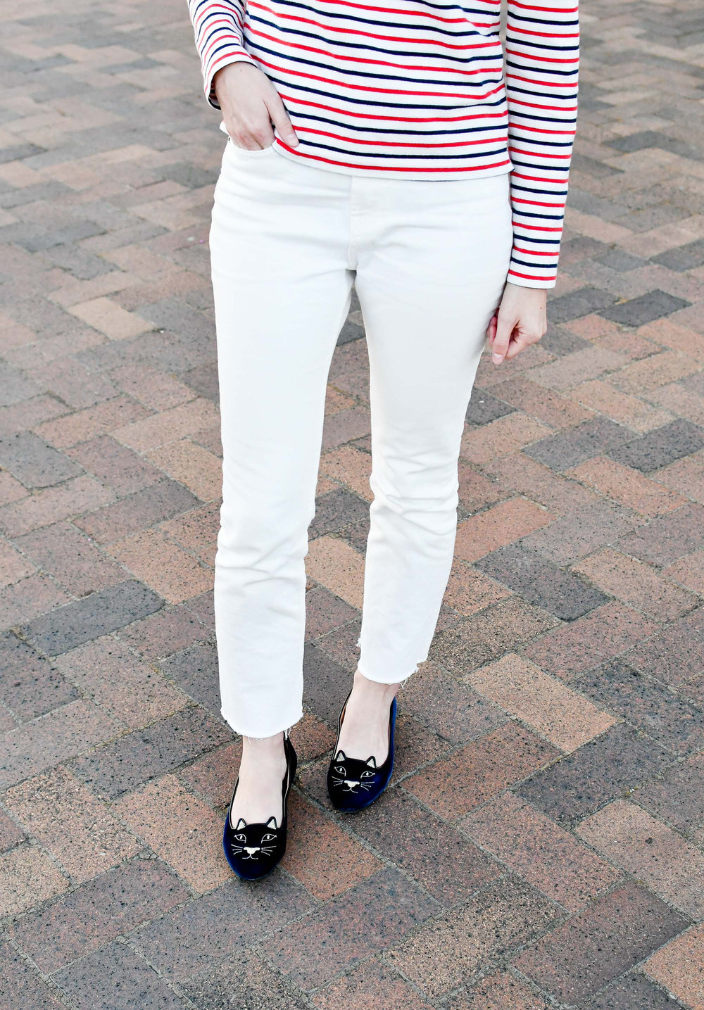 Everlane kick crop jeans in bone + Charlotte Olympia navy Kitty flats — Cotton Cashmere Cat Hair
