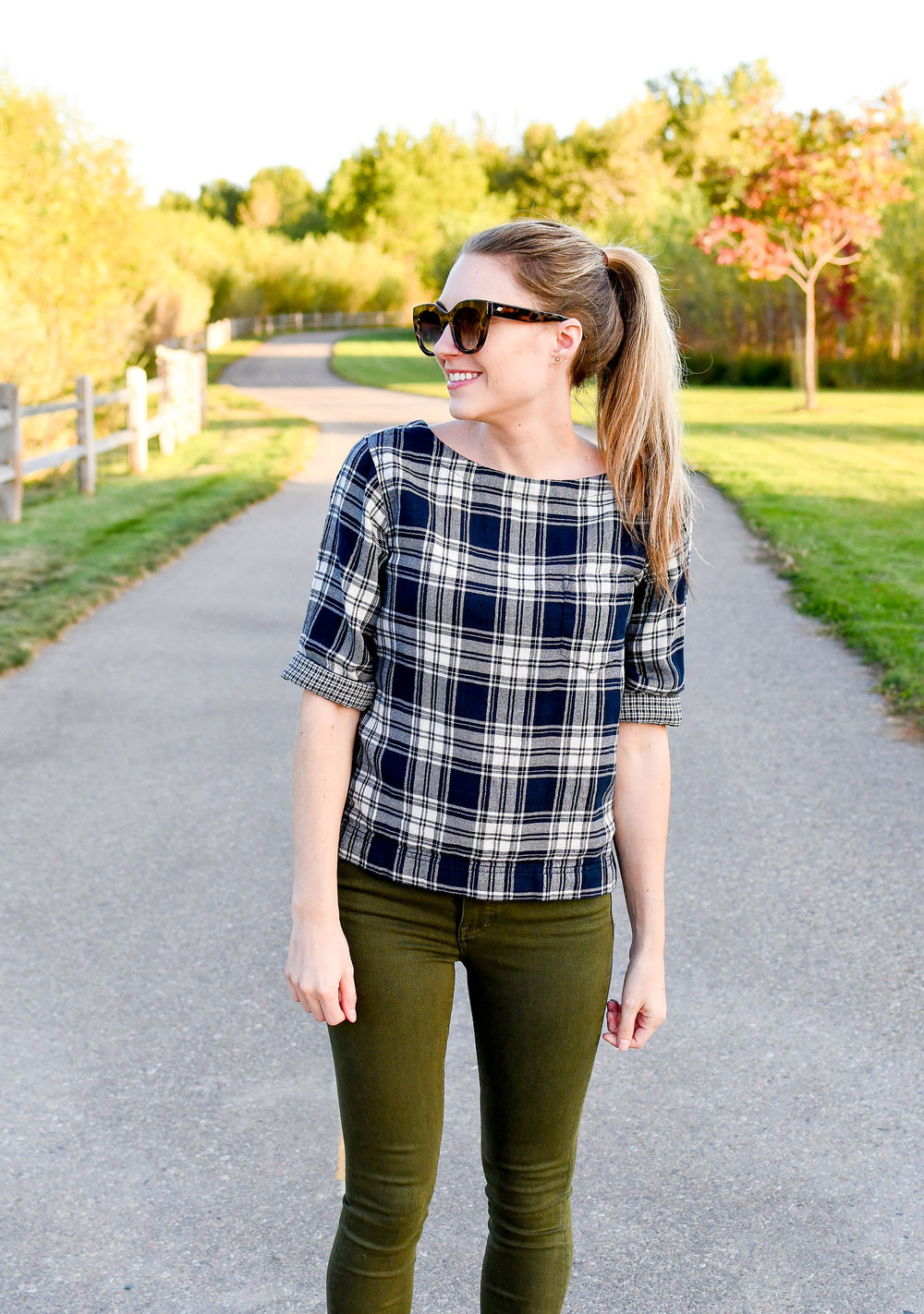 Blue plaid flannel top for fall — Cotton Cashmere Cat Hair