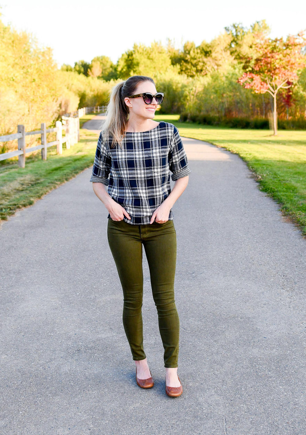 Blue plaid flannel top + olive green jeans + brown flats — Cotton Cashmere Cat Hair