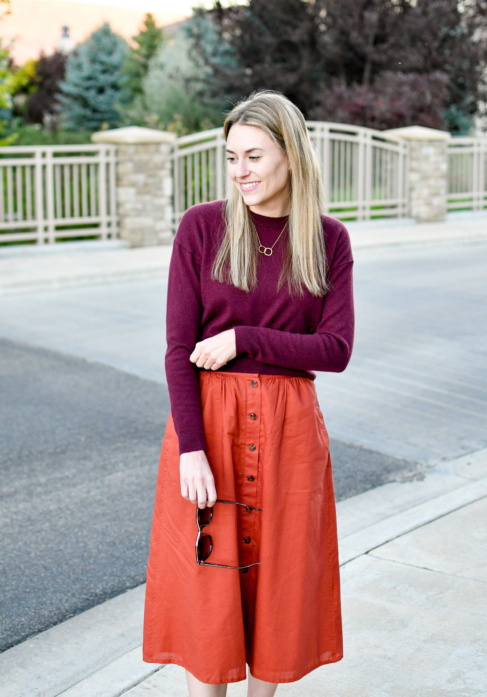 Cropped burgundy sweater fall outfit — Cotton Cashmere Cat Hair