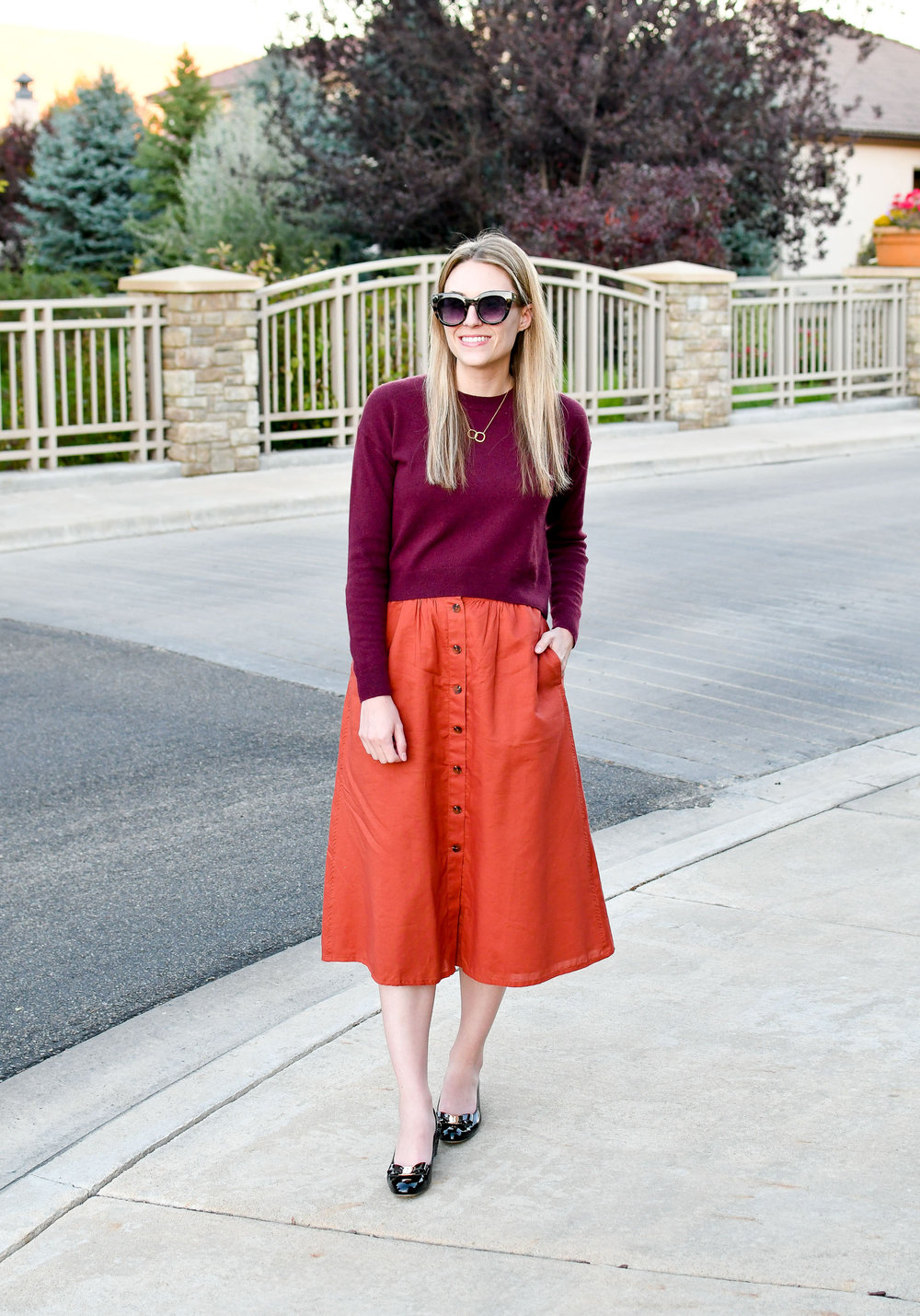 Fall work outfit with rust midi skirt — Cotton Cashmere Cat Hair