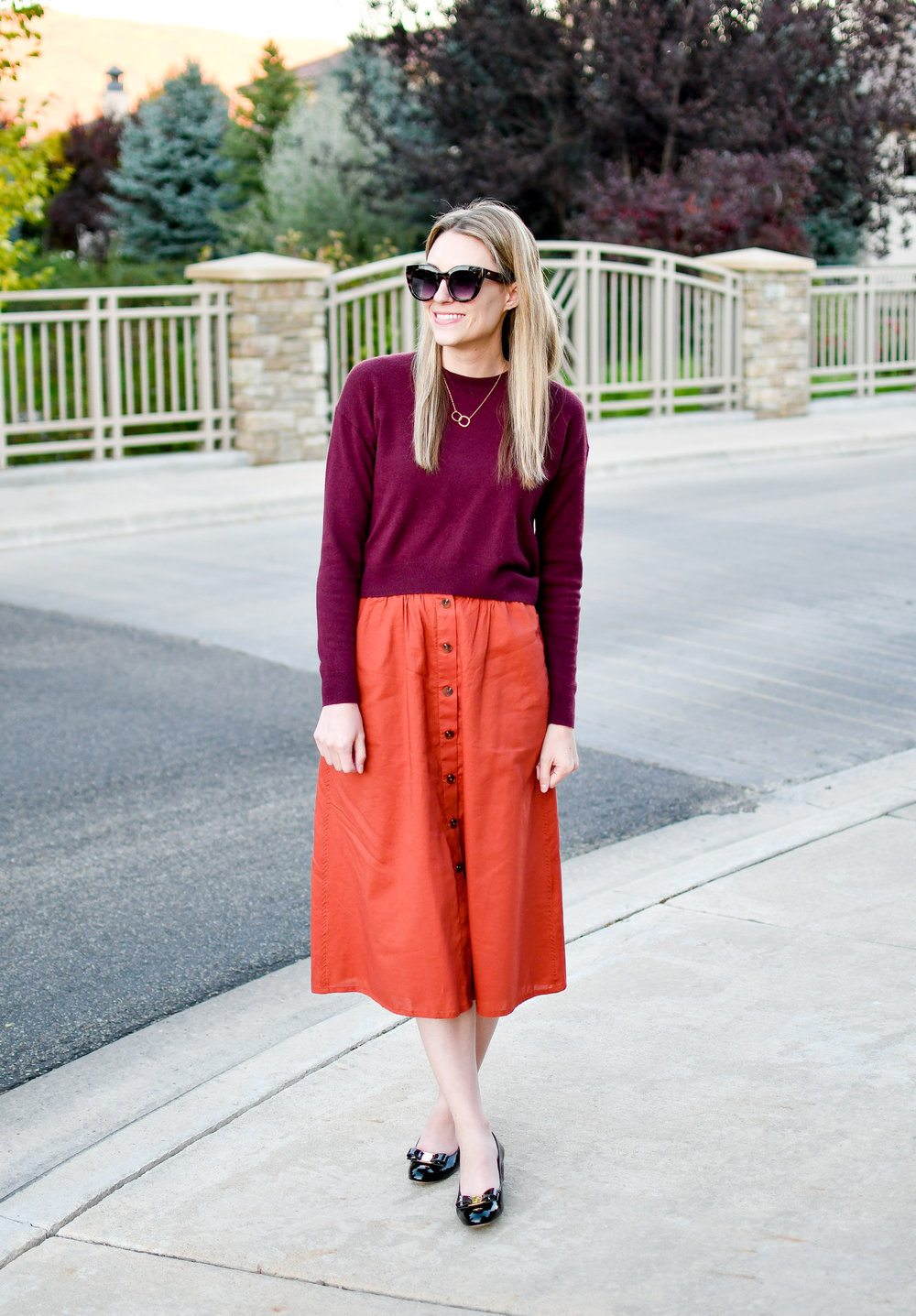 Burgundy cropped sweater + rust midi skirt — Cotton Cashmere Cat Hair