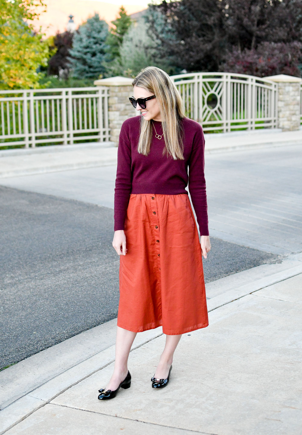 Fall midi skirt outfit with Ferragamo Vara pumps — Cotton Cashmere Cat Hair