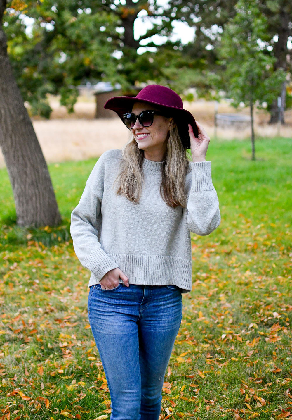 Everlane soft cotton square crew fall outfit — Cotton Cashmere Cat Hair