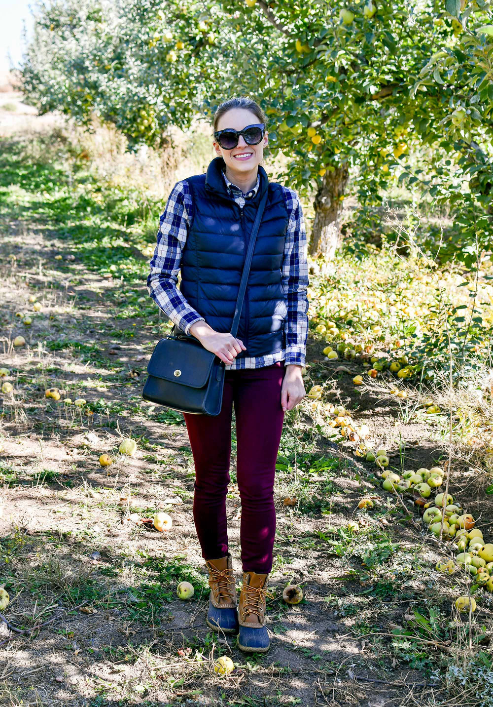 Fall outfit with puffer vest, plaid shirt, Bean boots — Cotton Cashmere Cat Hair