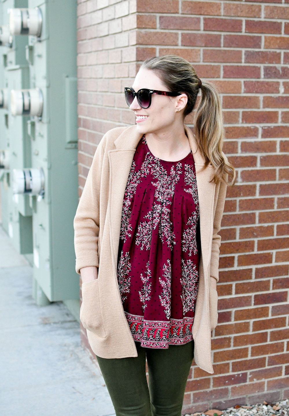 Camel sweater blazer outfit with burgundy top — Cotton Cashmere Cat Hair