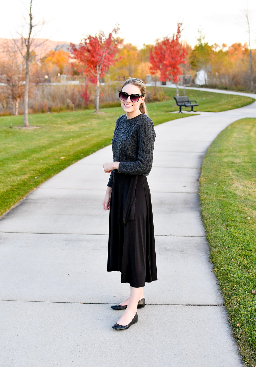 Fall outfit with cropped sweater, black midi skirt, black flats — Cotton Cashmere Cat Hair