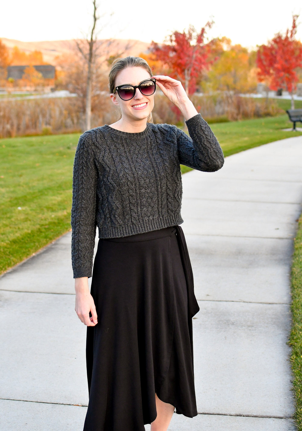 Cropped grey sweater outfit with black wrap skirt — Cotton Cashmere Cat Hair