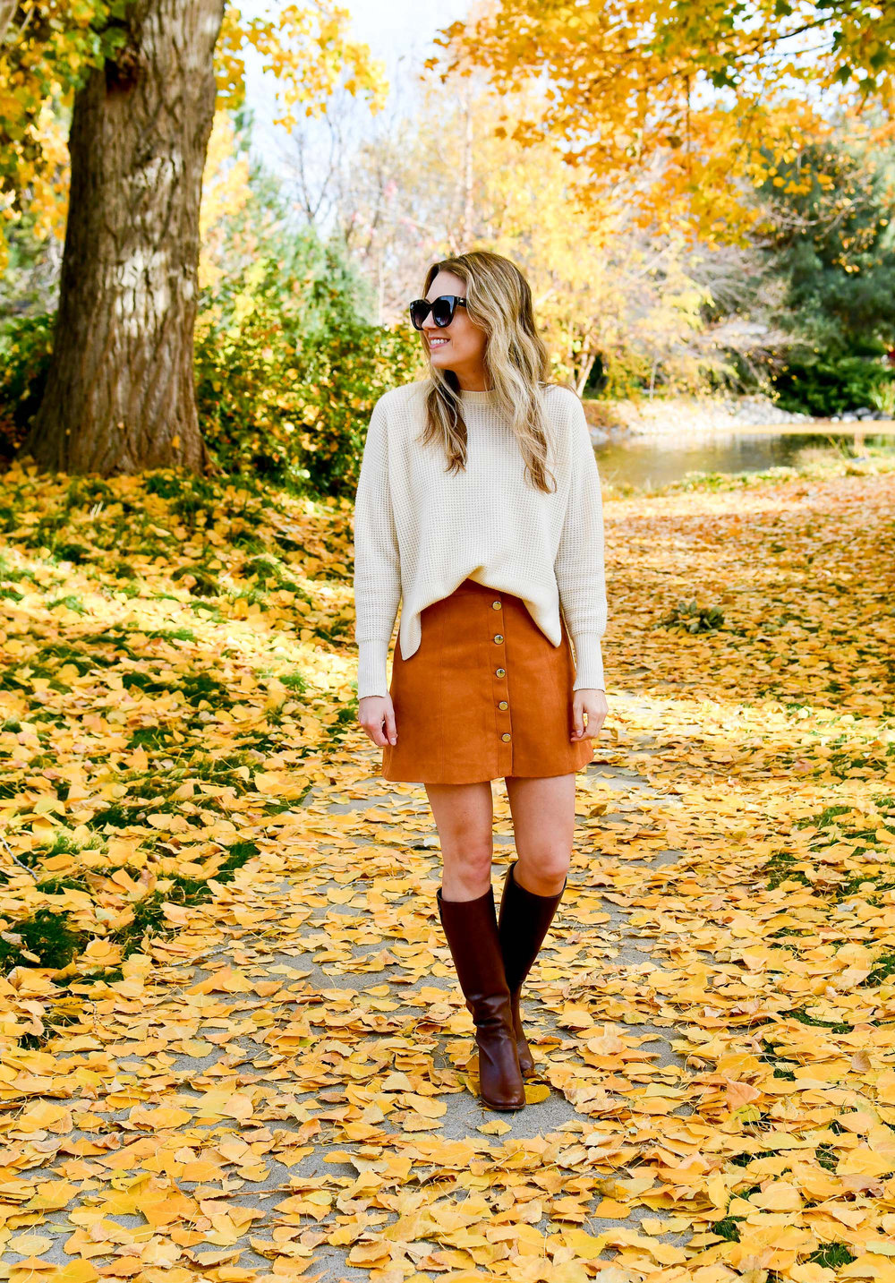 Camel button front mini skirt fall outfit — Cotton Cashmere Cat Hair