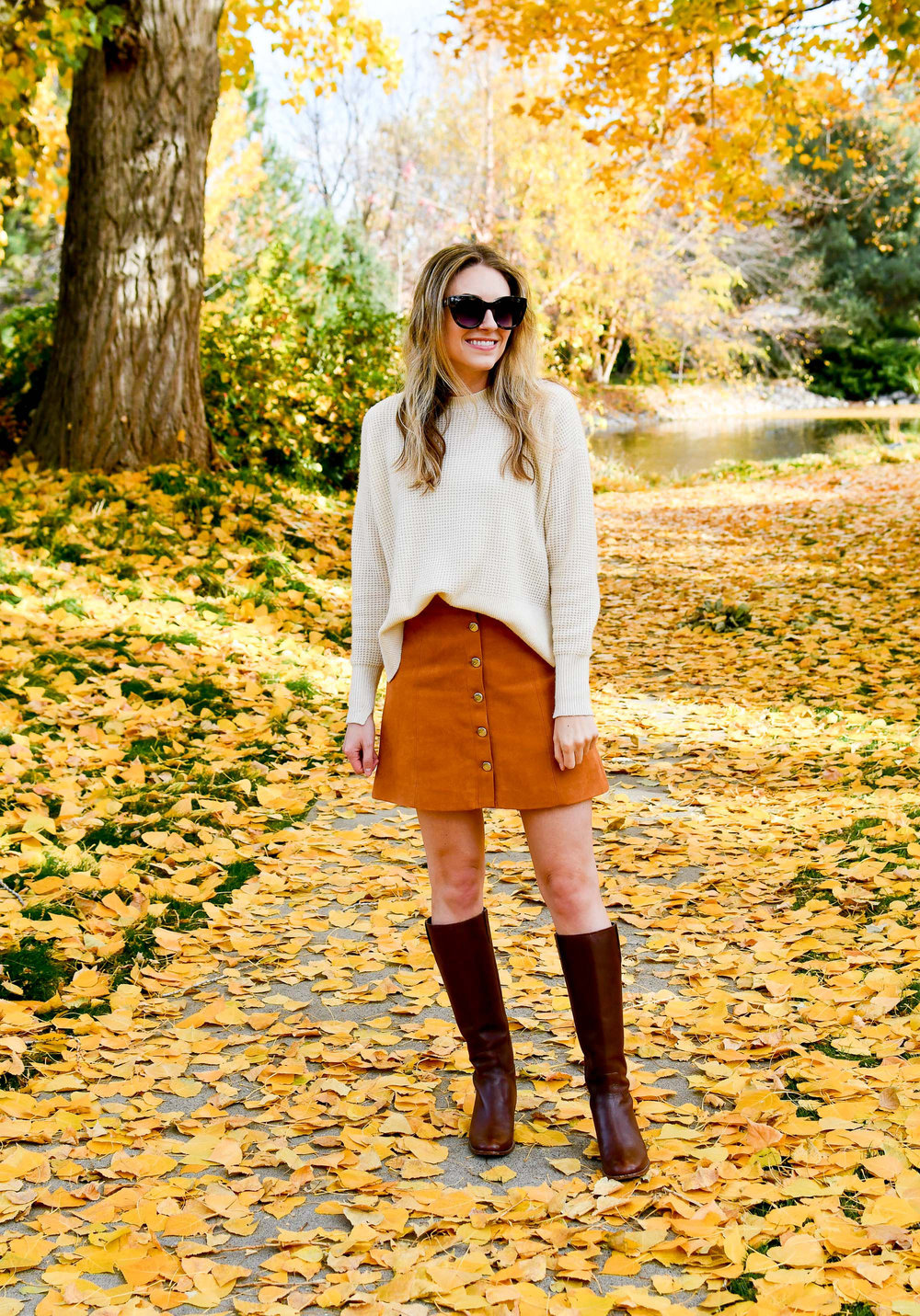 Camel button front skirt fall outfit — Cotton Cashmere Cat Hair