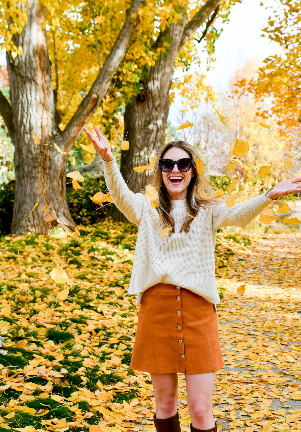 Camel mini skirt fall outfit — Cotton Cashmere Cat Hair