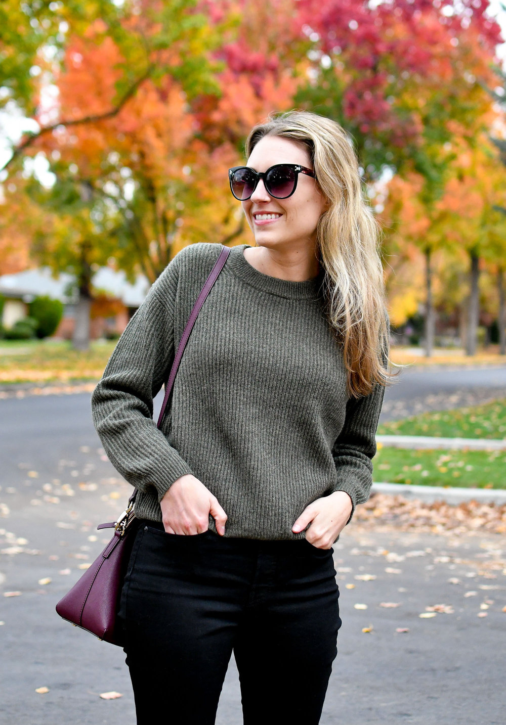 Everlane ribbed cashmere sweater in loden — Cotton Cashmere Cat Hair