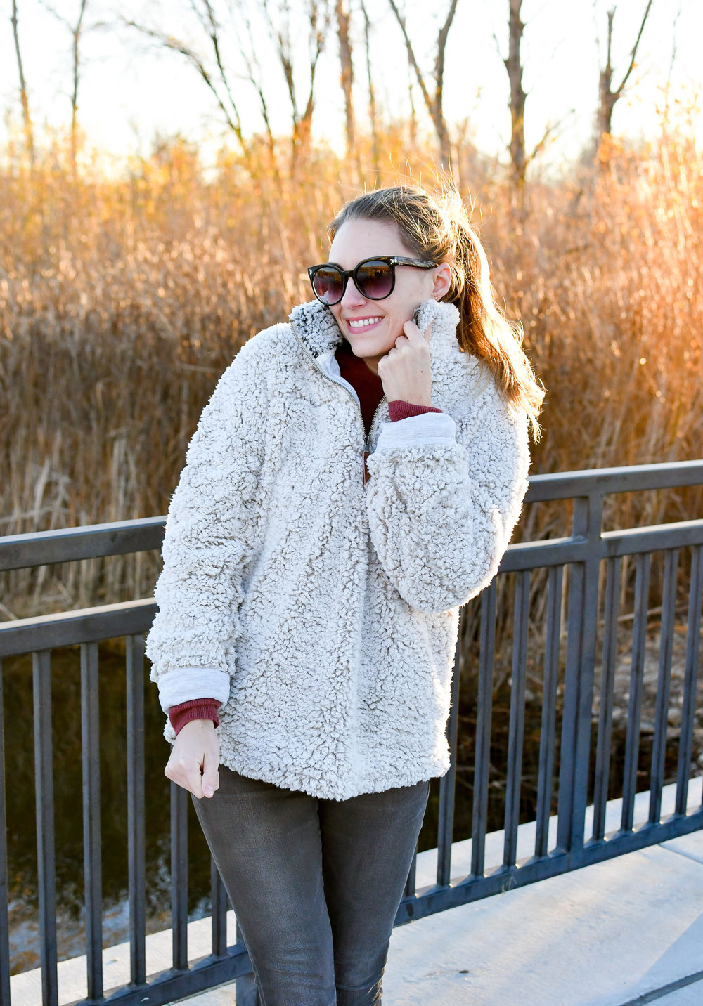 Nubby pullover cozy fall outfit — Cotton Cashmere Cat Hair