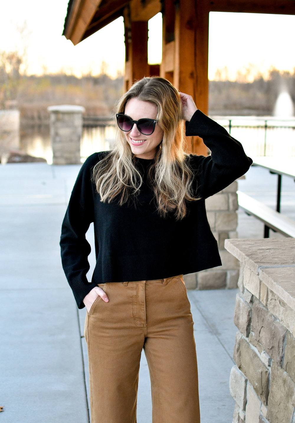 Black cropped cashmere fall outfit — Cotton Cashmere Cat Hair