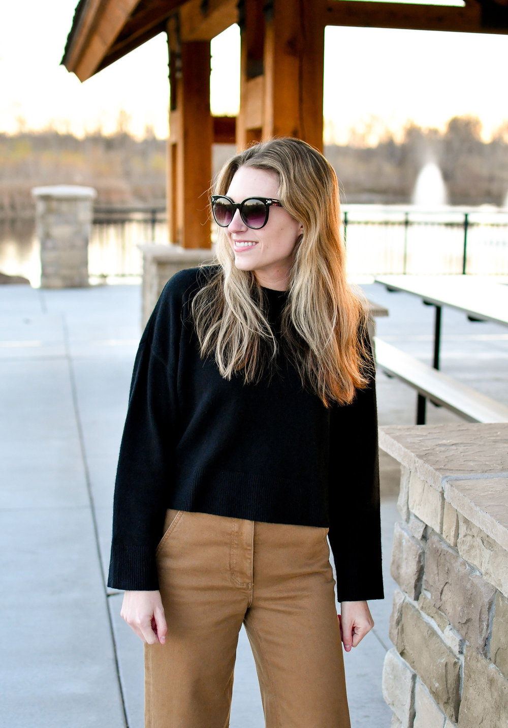 Fall outfit with black cashmere sweater and tan pants — Cotton Cashmere Cat Hair