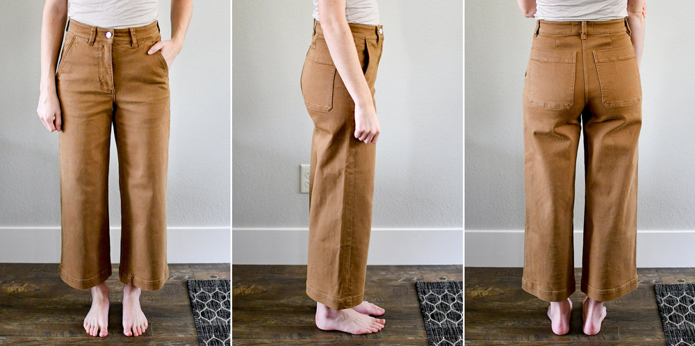 Everlane The Wide Leg Crop Pant in ochre — Cotton Cashmere Cat Hair