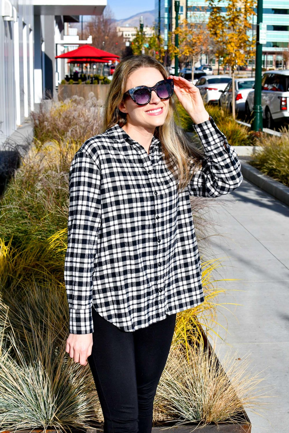 Madewell flannel shirt fall work outfit — Cotton Cashmere Cat Hair