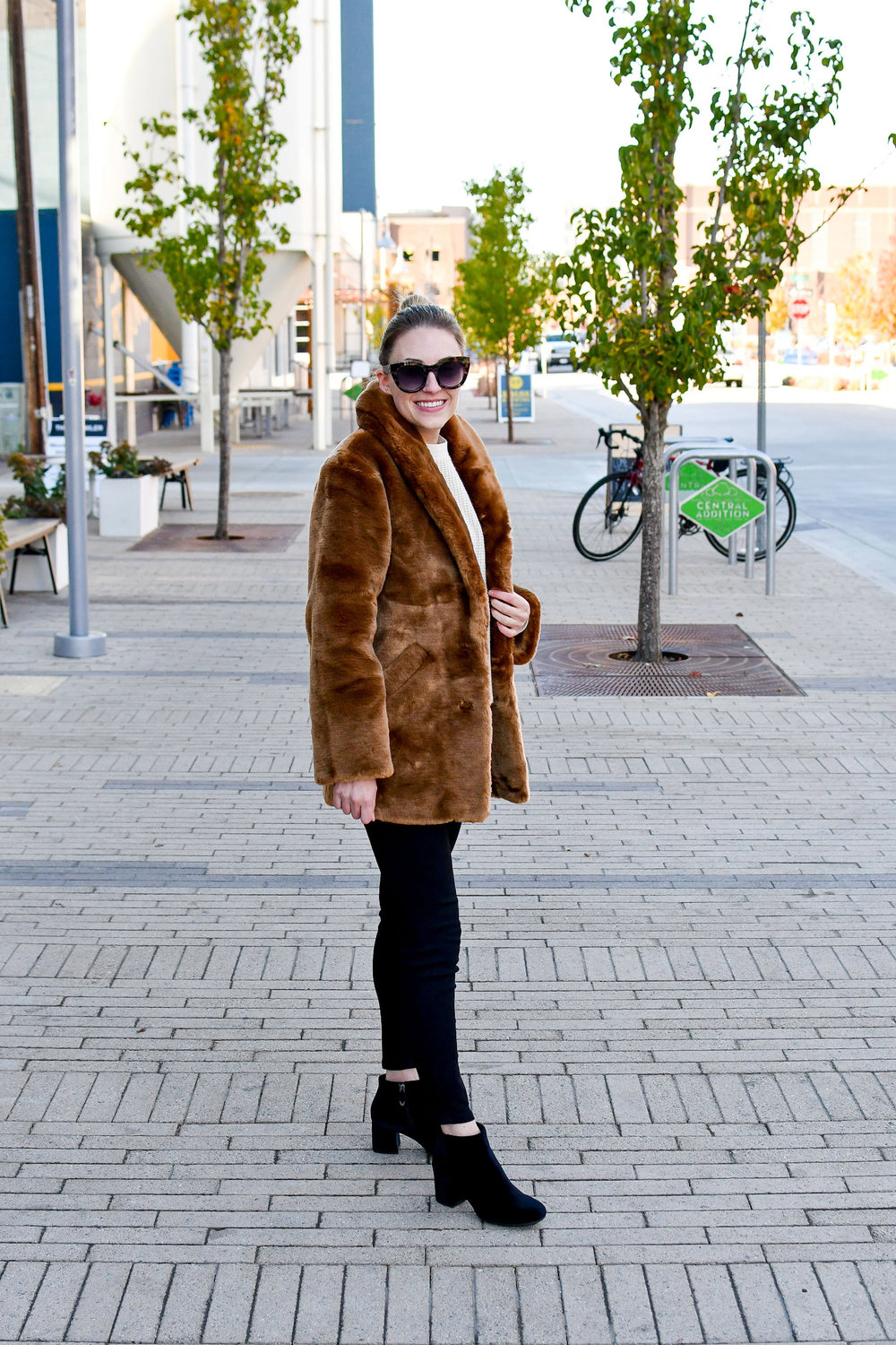 Fall outfit with faux fur coat and velvet boots — Cotton Cashmere Cat Hair
