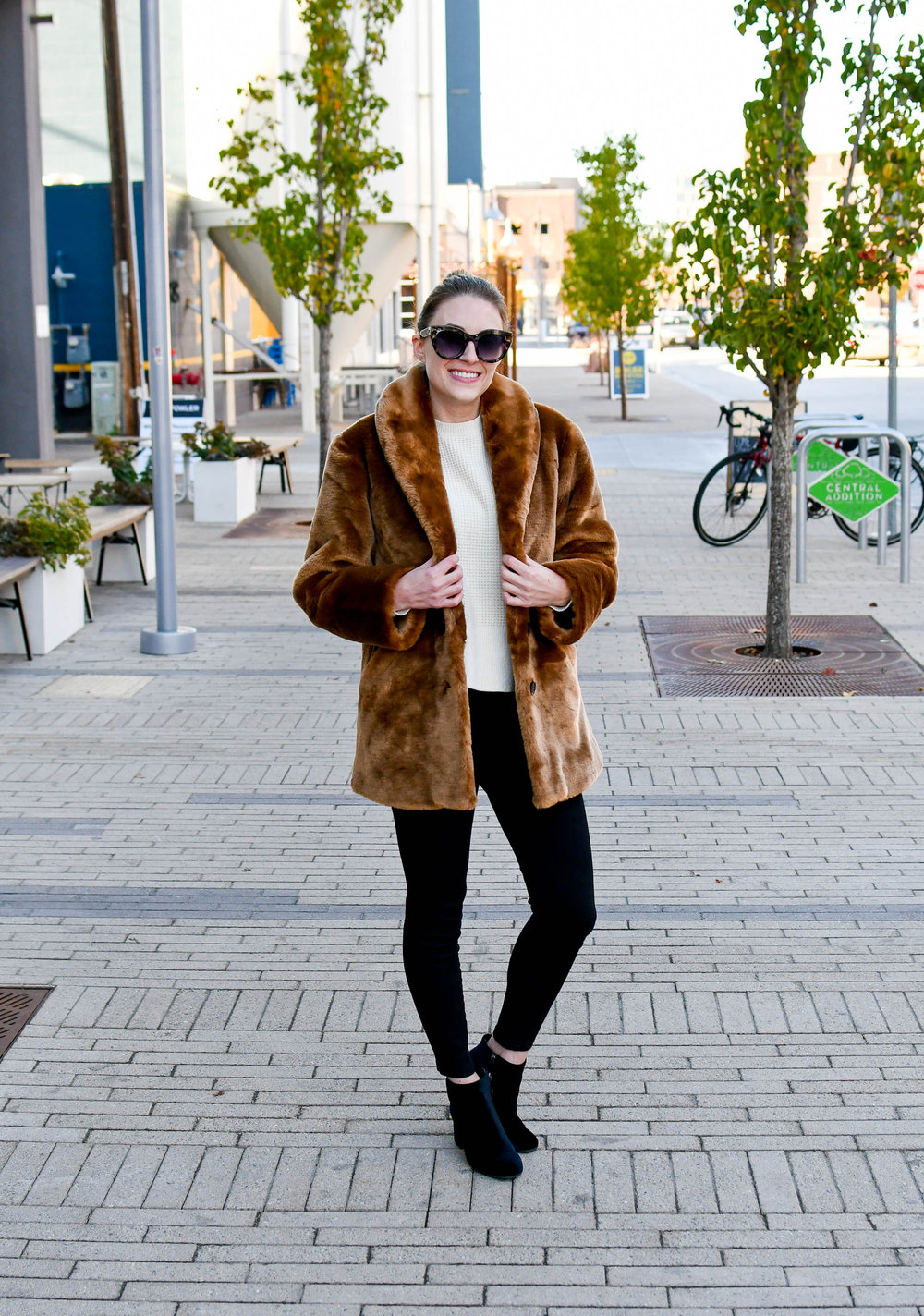 Faux fur coat outfit with black denim and velvet boots — Cotton Cashmere Cat Hair