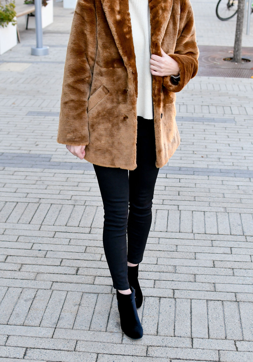 Faux fur coat, waffle knit cashmere, black denim, velvet boots — Cotton Cashmere Cat Hair