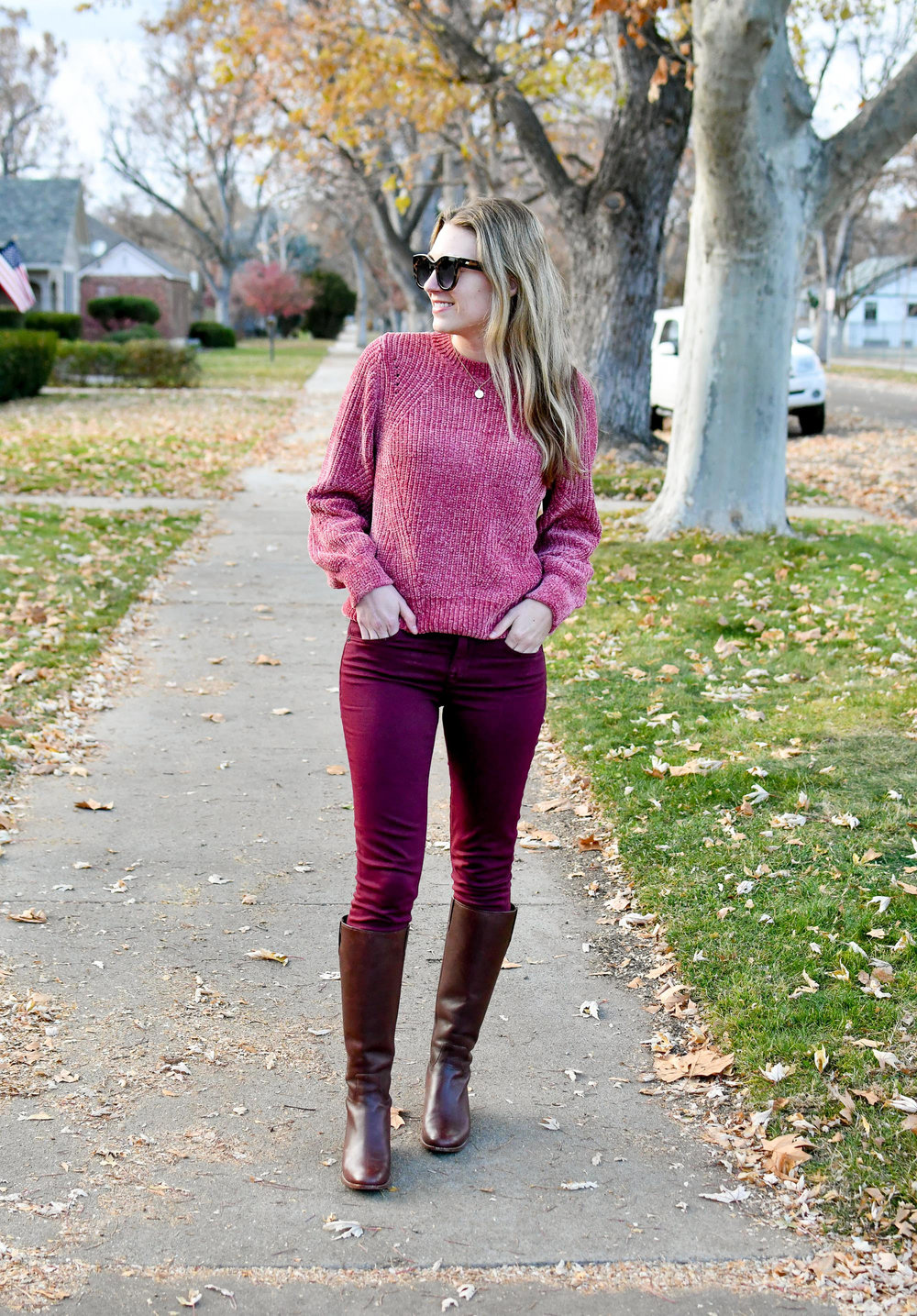 Monochrome fall outfit with chenille sweater and burgundy pants — Cotton Cashmere Cat Hair