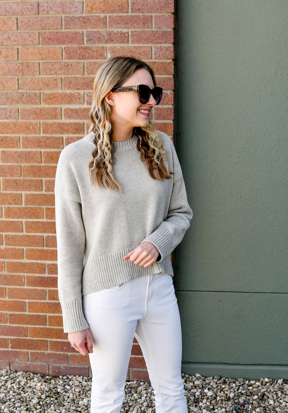 Grey sweater casual fall outfit — Cotton Cashmere Cat Hair