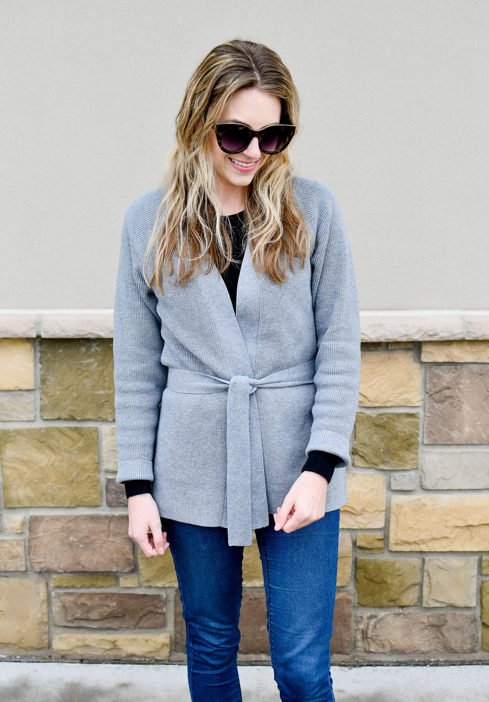 Grana wrap cardigan fall outfit — Cotton Cashmere Cat Hair