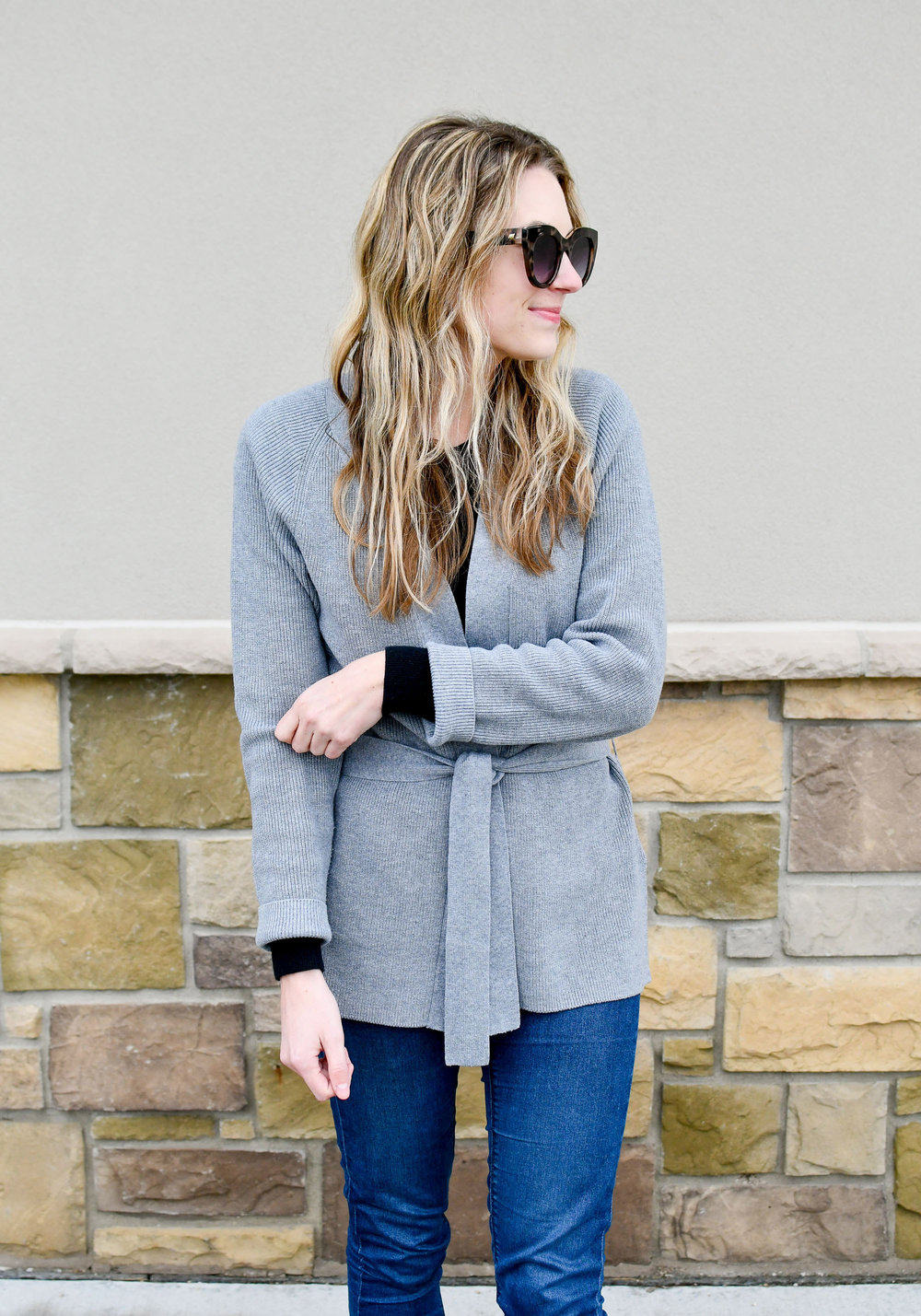 Layered fall outfit with wrap cardigan — Cotton Cashmere Cat Hair