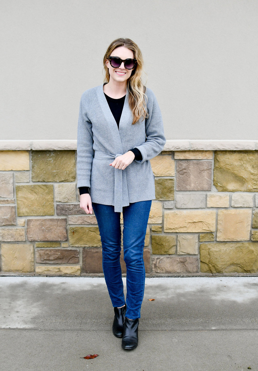 Sam Edelman Petty ankle boots fall outfit with Grana wrap cardigan — Cotton Cashmere Cat Hair