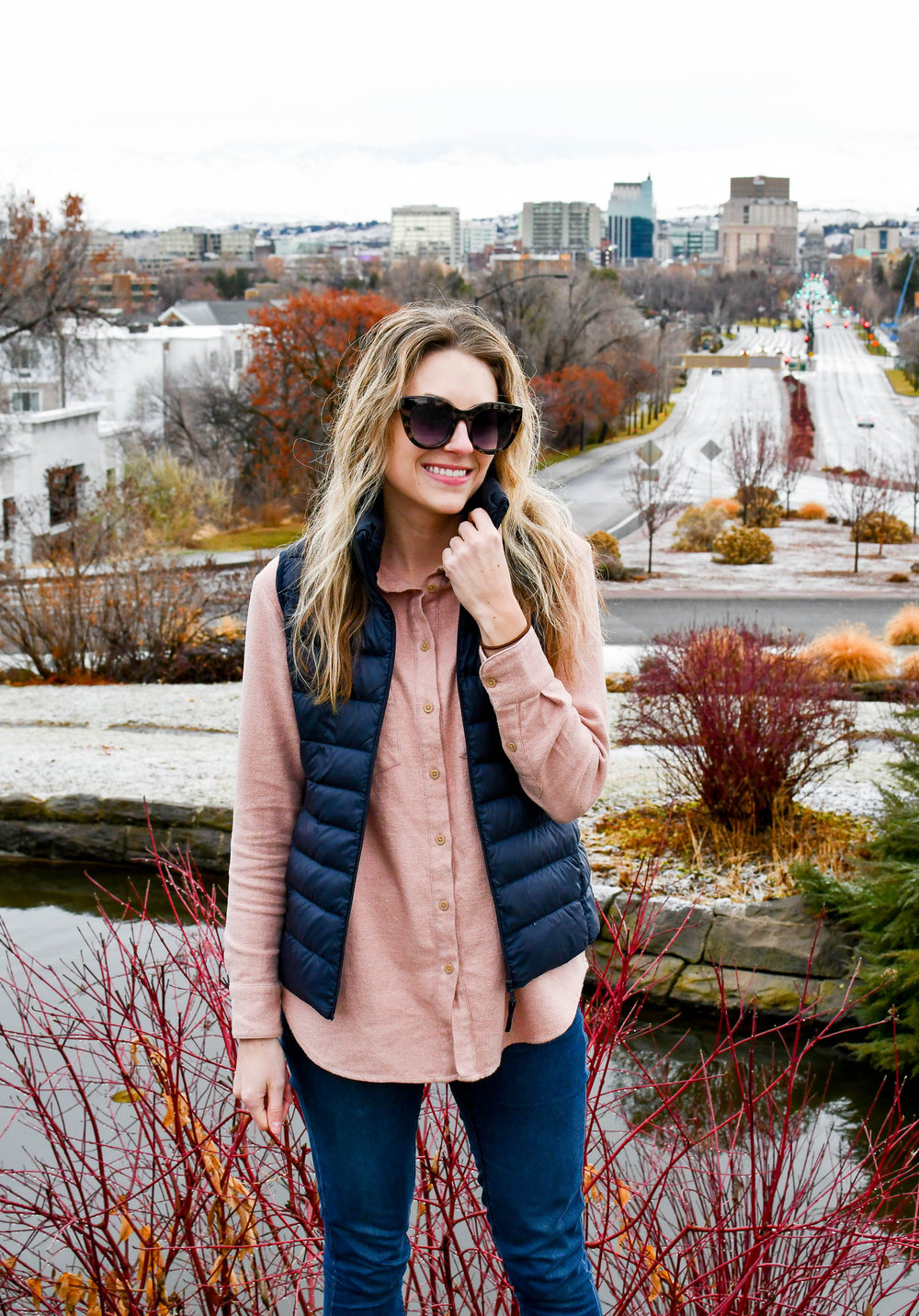 Pink flannel shirt fall outfit with navy vest — Cotton Cashmere Cat Hair