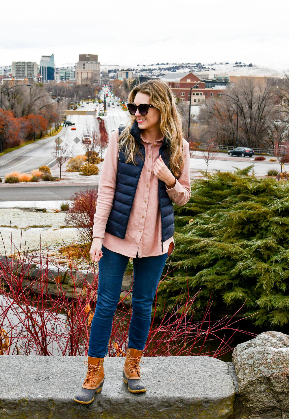 Fall outfit with flannel shirt and Bean boots — Cotton Cashmere Cat Hair