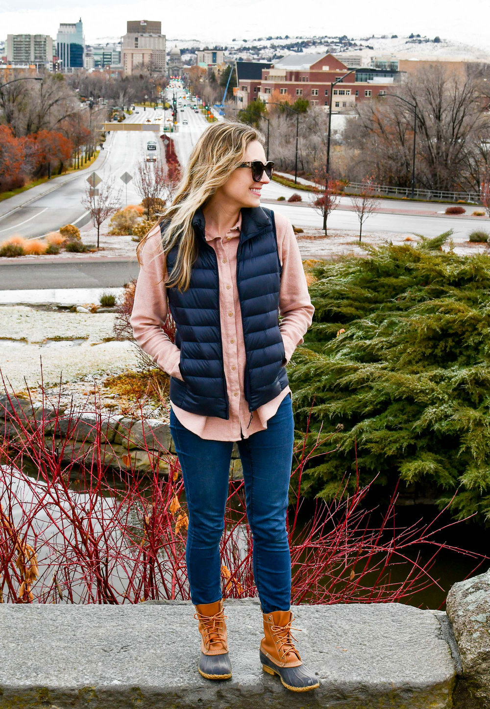 Navy vest casual fall outfit with pink flannel shirt and Bean boots — Cotton Cashmere Cat Hair