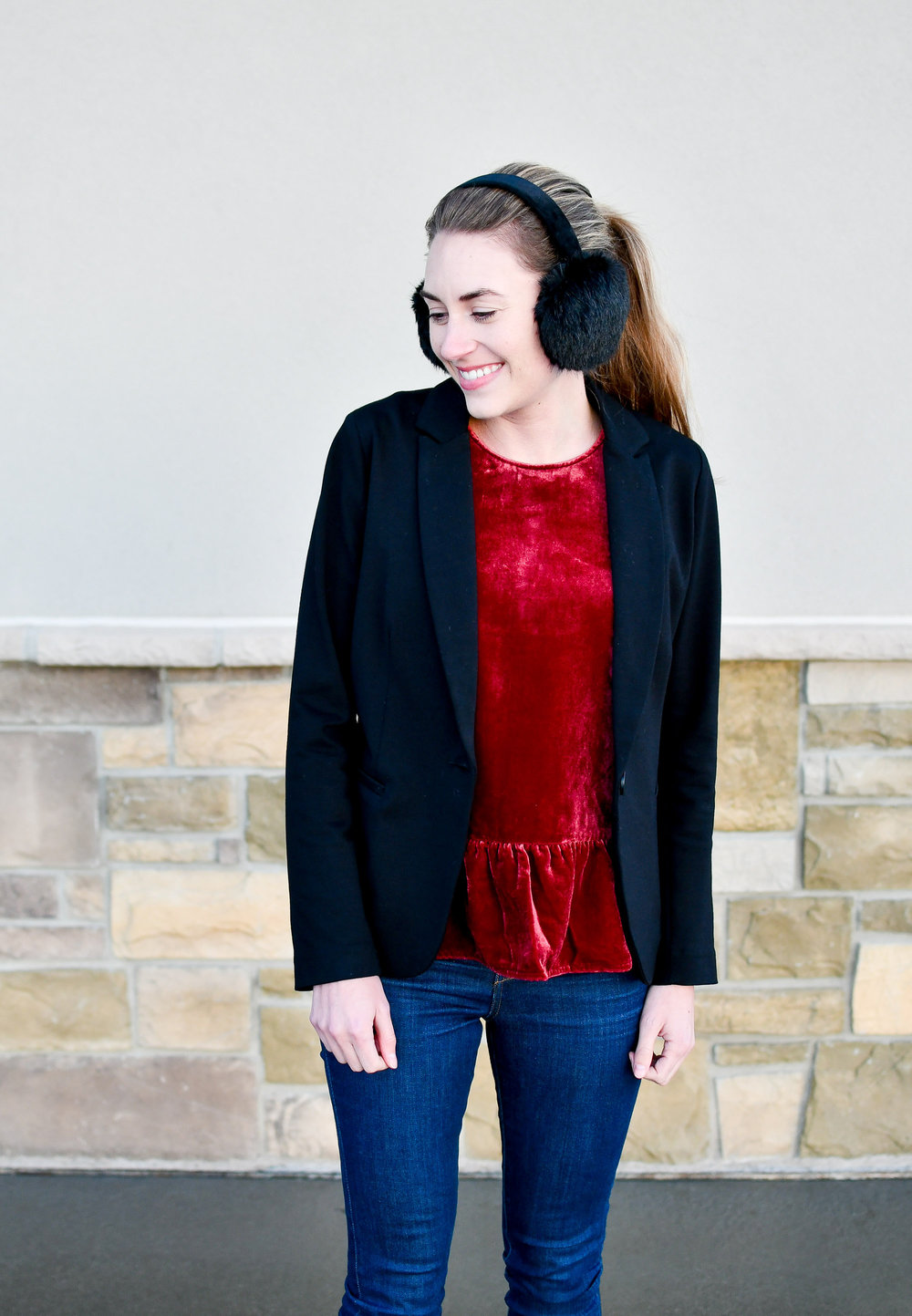 Holiday work outfit with red velvet peplum tank and black blazer — Cotton Cashmere Cat Hair