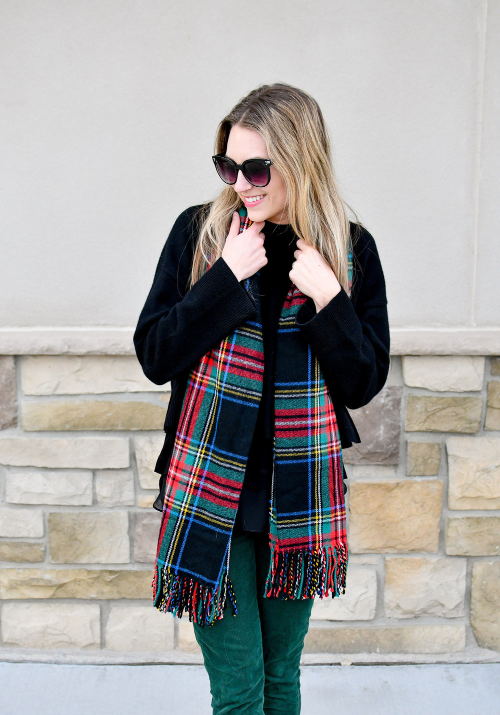Holiday style with dark tartan scarf — Cotton Cashmere Cat Hair