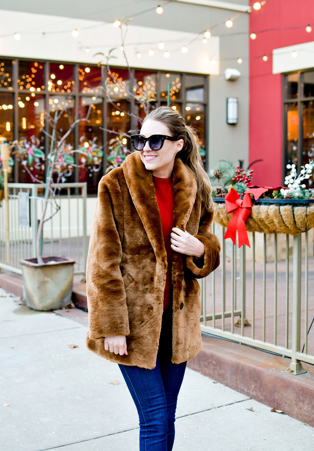& Other Stories brown faux fur coat outfit with red sweater — Cotton Cashmere Cat Hair