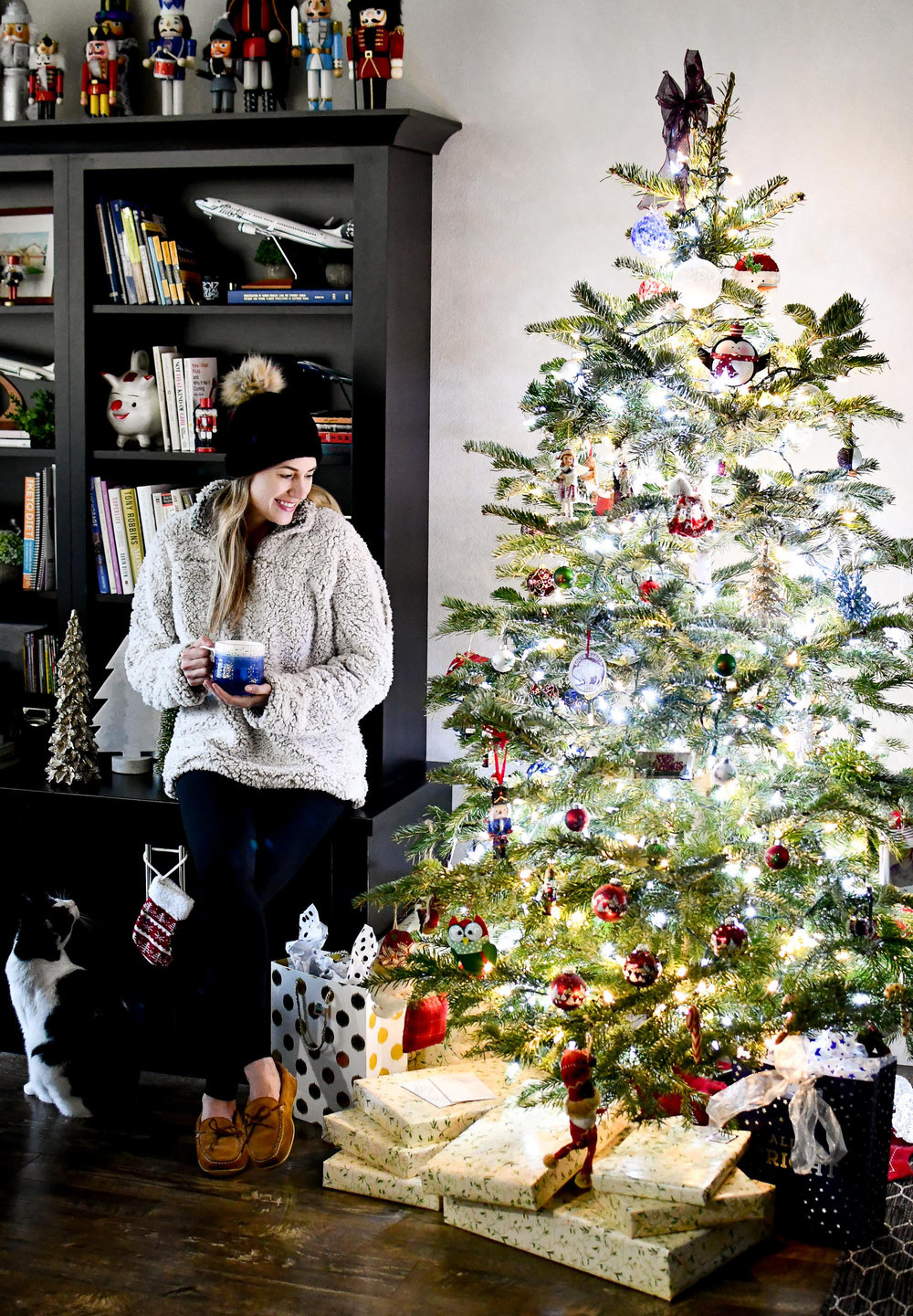Cozy Christmas Eve holiday outfit with nubby pullover and beanie — Cotton Cashmere Cat Hair