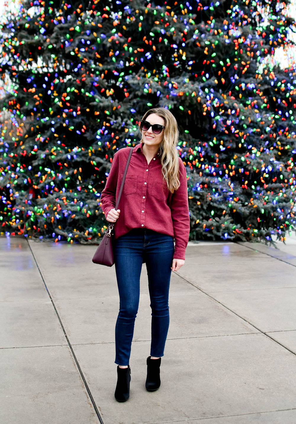 Casual winter outfit with flannel Sunday shirt and velvet boots — Cotton Cashmere Cat Hair