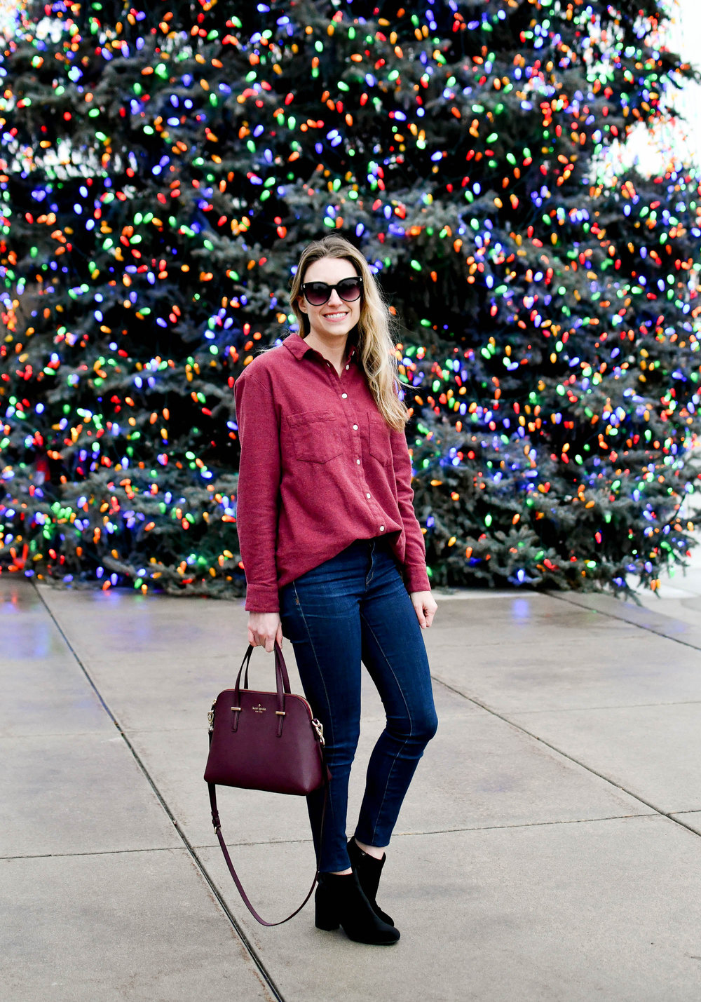 Light burgundy flannel shirt winter outfit with velvet boots and Kate Spade satchel — Cotton Cashmere Cat Hair