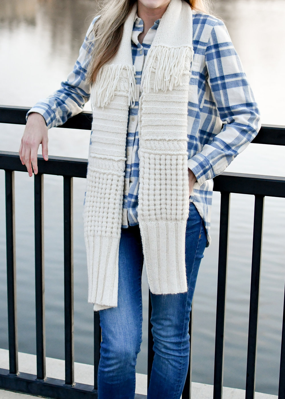 Lamini Carmine multi-stitch scarf winter outfit — Cotton Cashmere Cat Hair
