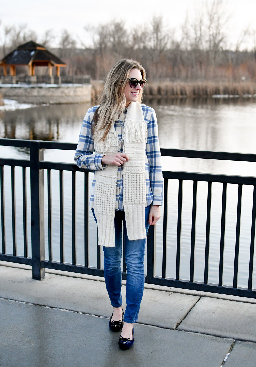 Winter outfit with alpaca scarf, flannel shirt, Kitty flats — Cotton Cashmere Cat Hair