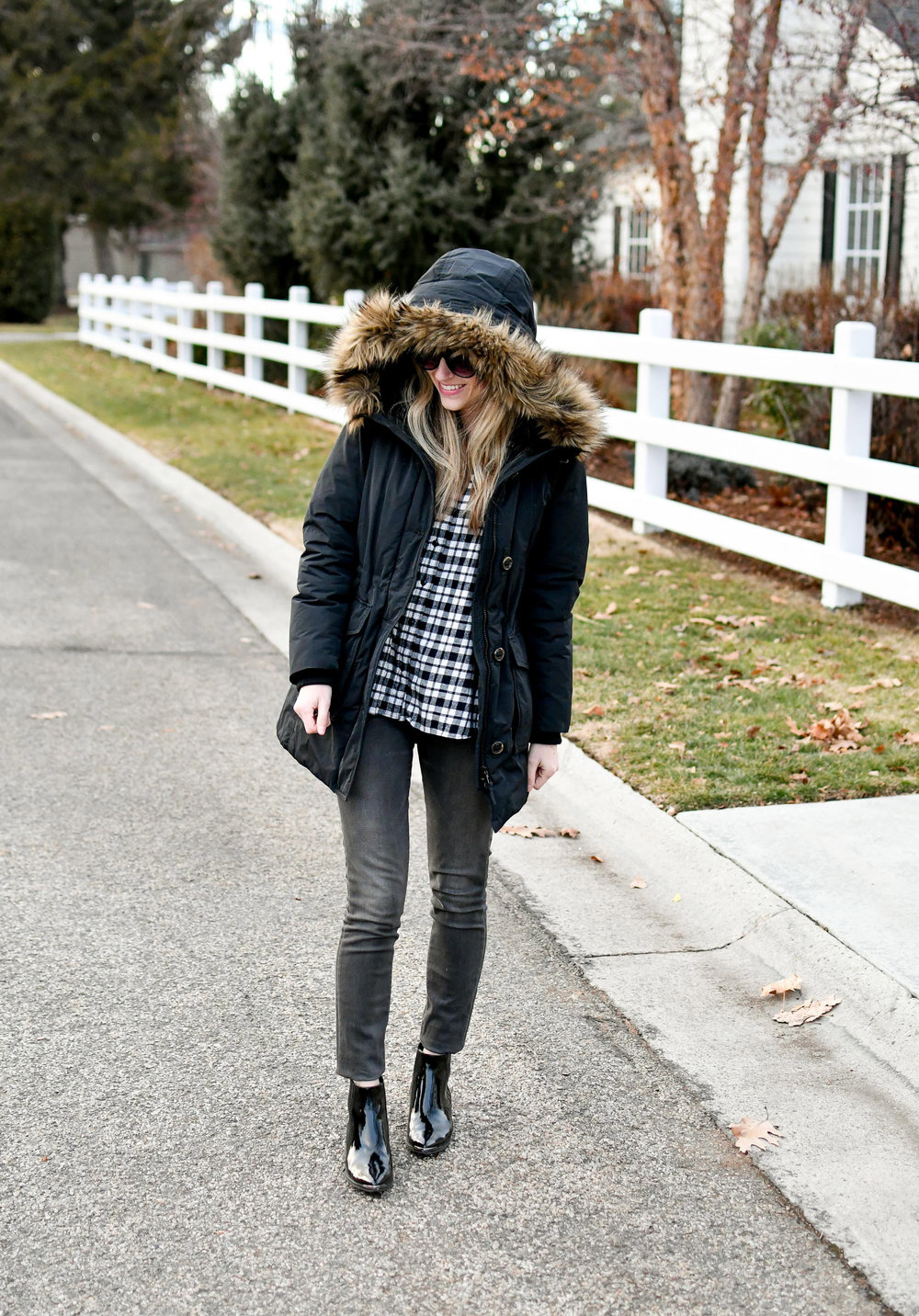 Black plaid and grey casual winter outfit — Cotton Cashmere Cat Hair