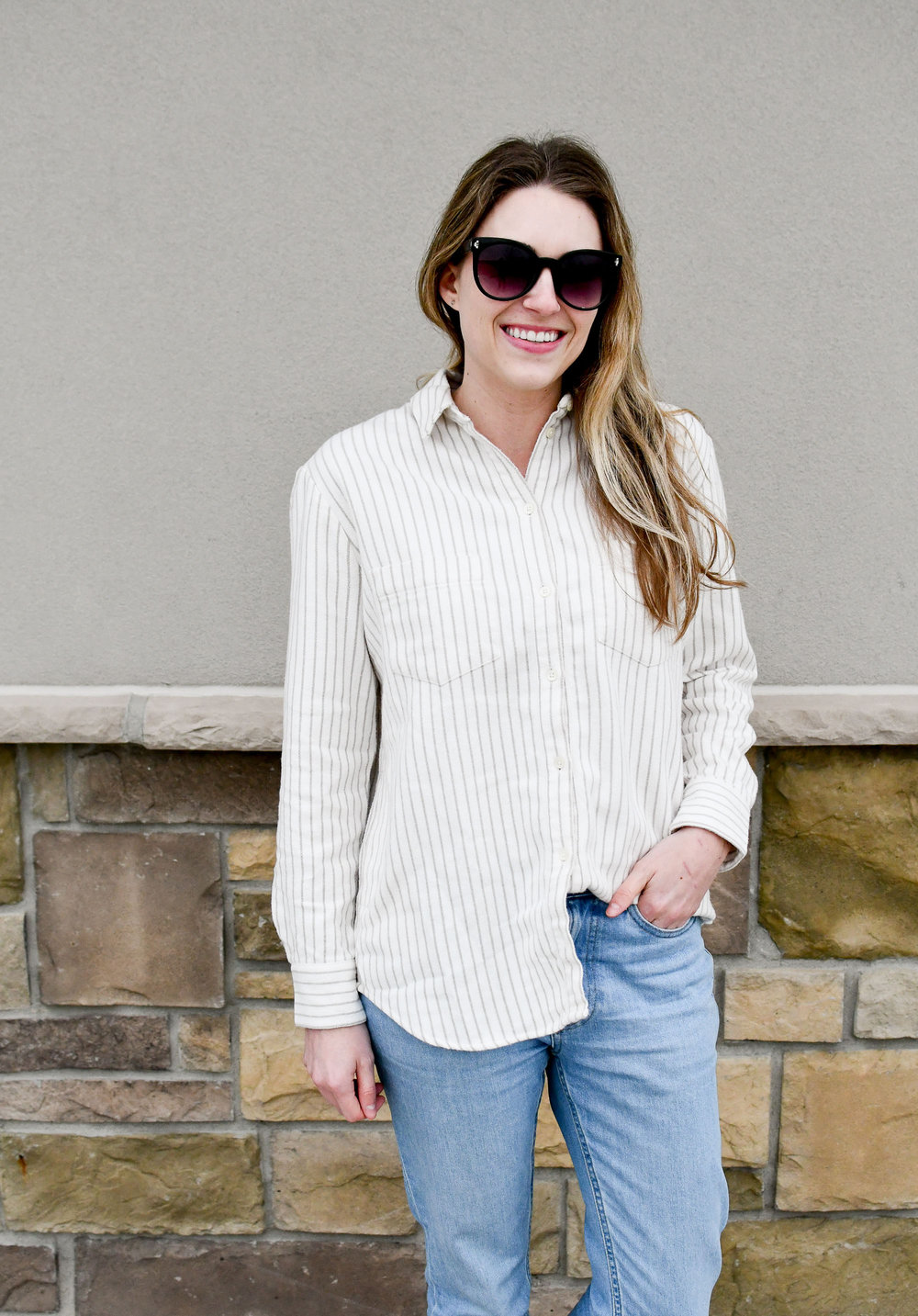 Madewell flannel Sunday shirt in stripes — Cotton Cashmere Cat Hair