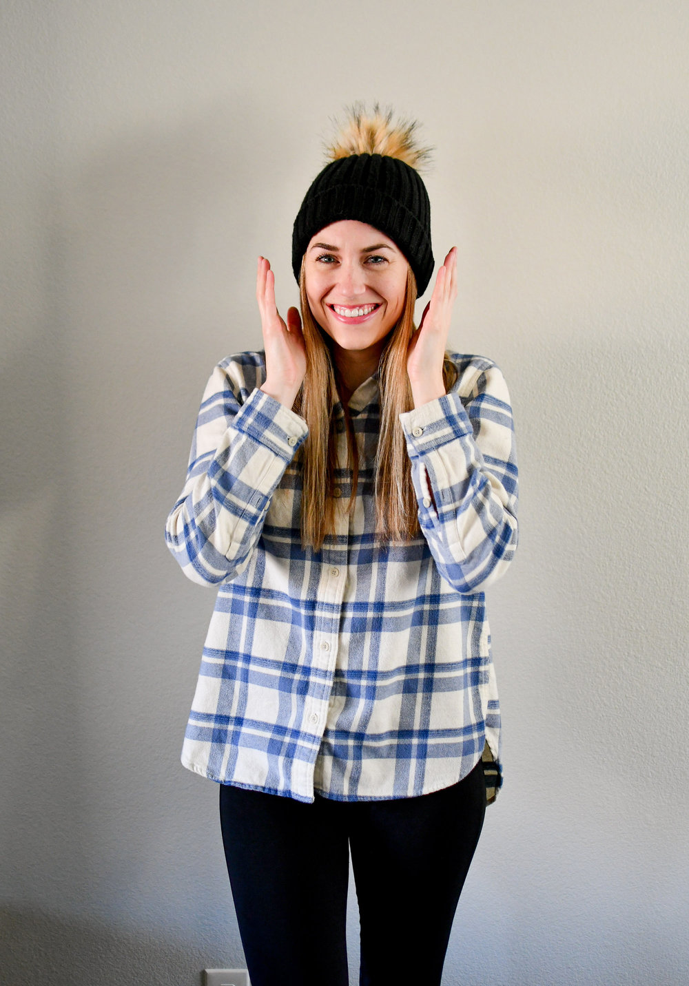 Winter outfit with flannel shirt and black beanie — Cotton Cashmere Cat Hair
