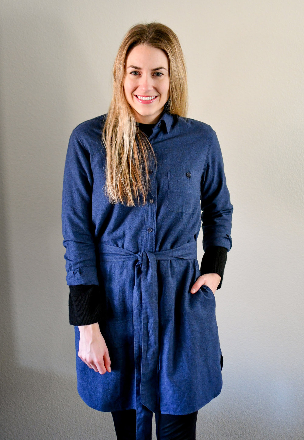 Flannel shirt dress winter outfit — Cotton Cashmere Cat Hair