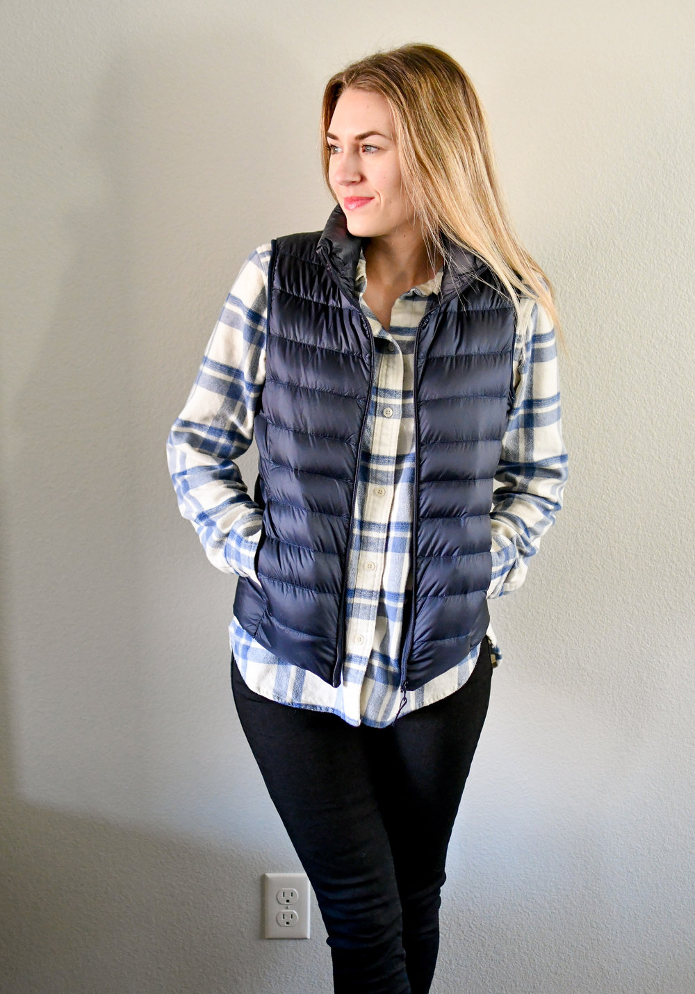Uniqlo ultra light down vest outfit — Cotton Cashmere Cat Hair