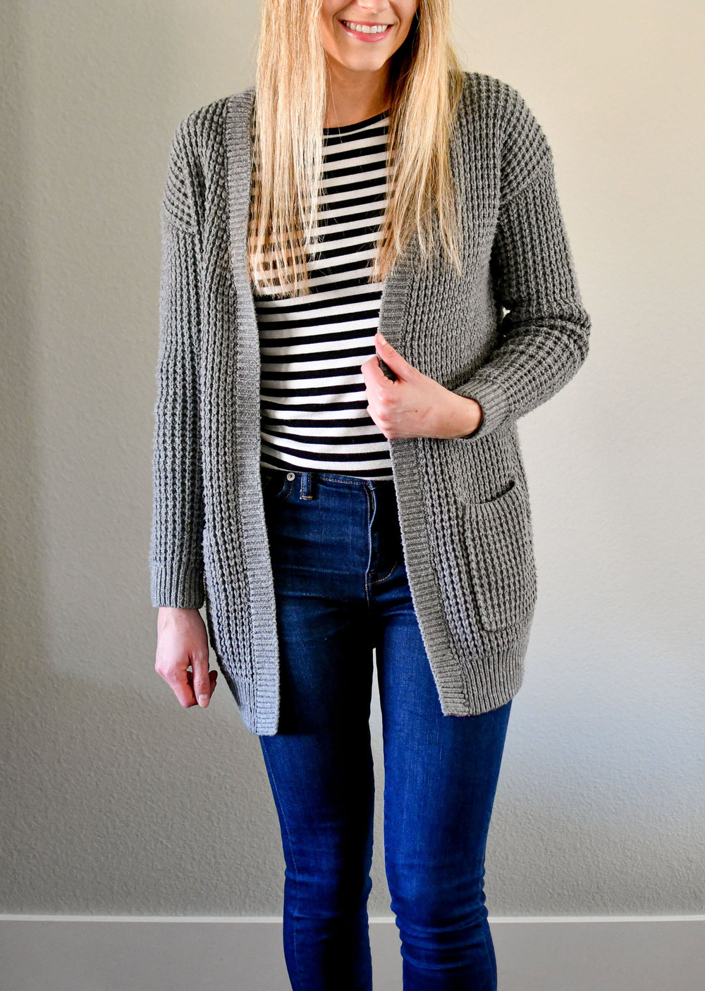 Grey cardigan casual winter outfit with striped tee — Cotton Cashmere Cat Hair
