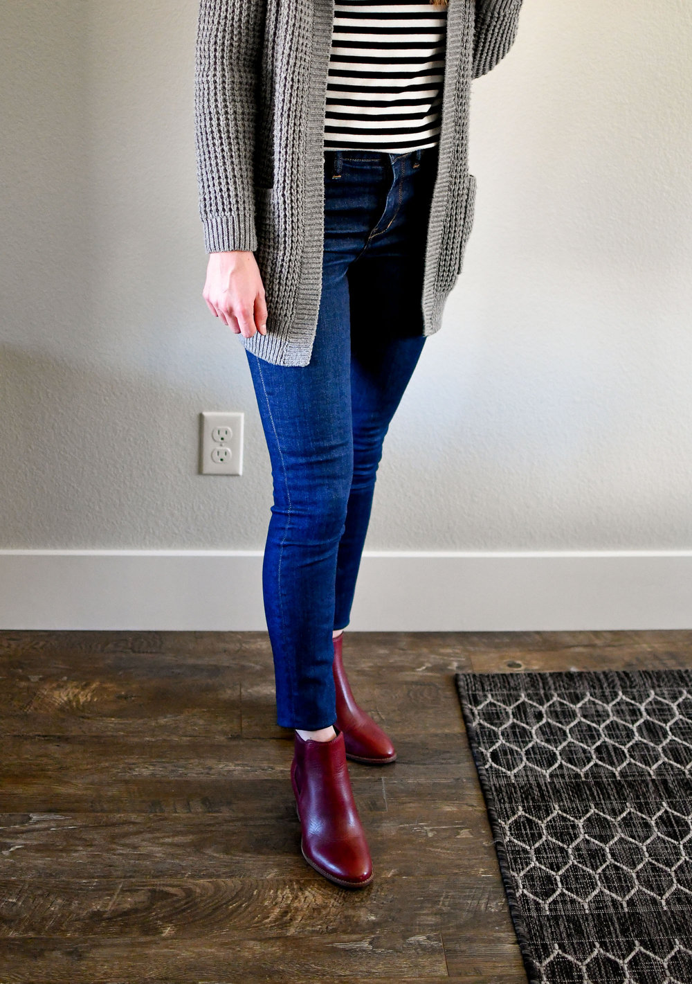 Madewell red Regan ankle boots winter outfit — Cotton Cashmere Cat Hair