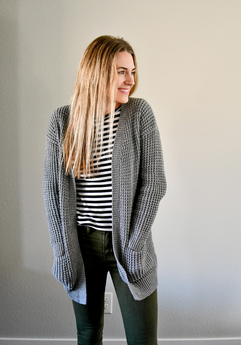 Grey cardigan winter outfit with striped tee — Cotton Cashmere Cat Hair