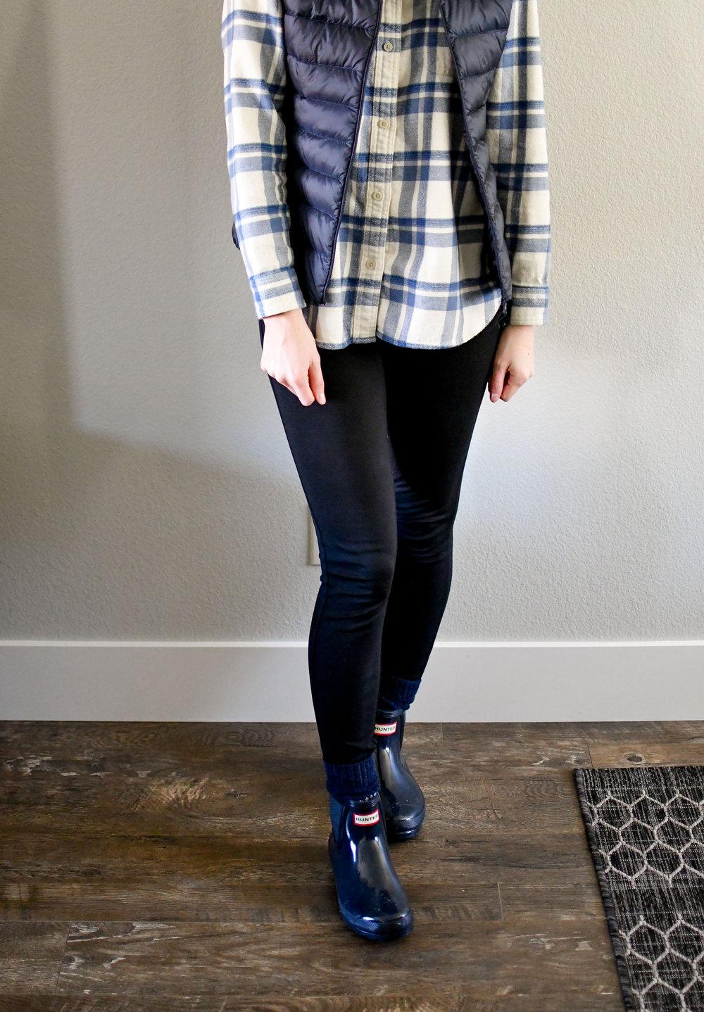 Navy vest, flannel shirt, ponte pants, navy Hunter boots — Cotton Cashmere Cat Hair